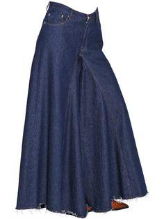 MM6 MAISON MARGIELA - WIDE LEG COTTON DENIM JEANS - SKIRTS - BLUE - LUISAVIAROMA - Front button and concealed zip closure . Five pockets. Skirt effect. Raw cut hem . Sample size: 38 #affiliate