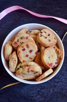 Eggless fruit cookies recipe or tutti frutti cookies recipe is a very easy to bake short bread kind of cookies and not even baking powder is needed here. It is so crumbly and crispy due to the addi… Fruit Cookie Recipe, Fruit Cookies, Yummy Cookies, Cookie Recipes, Cake Cookies, Cupcakes, Eggless Desserts, Eggless Recipes, Eggless Baking