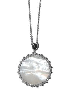 Anzie - Dew Drop Collection - Large Enhancer Necklace Round- Mother-of-Pearl