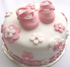 Little pink shoes Pretty Cakes, Beautiful Cakes, Cupcakes, Cupcake Cakes, Baby Cake Design, Torta Angel, Christening Cake Girls, 1st Bday Cake, Torta Baby Shower