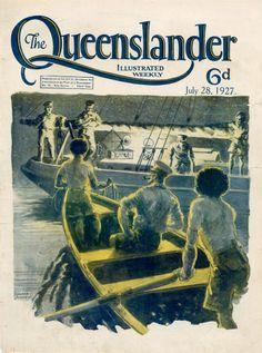 Vintage Poster Print - Cover from The Queenslander 1927 - Sailing by Night Australian Vintage, Sailing Trips, Magazine Illustration, Queenslander, Ship Art, Vintage Magazines, Vintage Travel Posters, Vintage Prints, Poster Prints