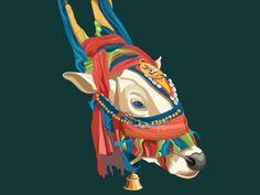 Decorative bull designed by ranganath krishnamani. Graphic Design Illustration, Watercolor Illustration, Watercolor Wallpaper, Watercolor Trees, Funny Emoji Faces, Rajasthani Painting, Vintage Pop Art, Polygon Art, Truck Art
