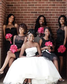 We love the contrast of the fuchsia bouquets against the black bridesmaids… Bridesmaid Inspiration, Wedding Inspiration, Bridesmaid Ideas, Wedding Ideas, Wedding Pics, Wedding Dress Cake, Wedding Gowns, Beach Bridesmaid Dresses, African American Weddings