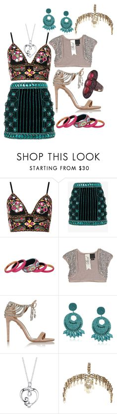 """Analise"" by ekw99 ❤ liked on Polyvore featuring Topshop, Balmain, Gypsy SOULE, Bird by Juicy Couture, Aquazzura, Kenneth Jay Lane, Disney, Parulina and River Island"