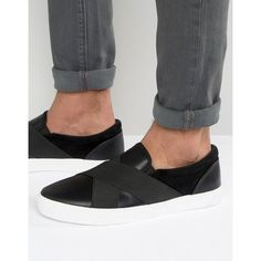 Brave Soul Cross Over Slip On Plimsolls Black ($30) ❤ liked on Polyvore featuring men's fashion, men's shoes, men's sneakers, black, mens slip on shoes, mens canvas slip on sneakers, mens black slip on sneakers, mens slip on sneakers and mens black shoes