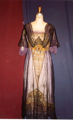 1910s Black Blue and Gold Multilayered Dress