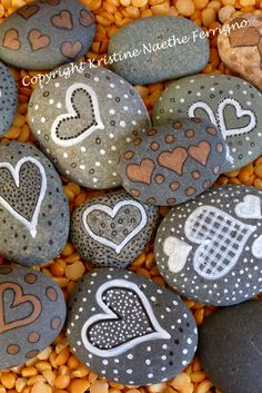 Rocks with hearts and dots