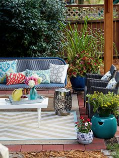 Transform a plain, inexpensive outdoor rug into a custom DIY creation with a little paint.