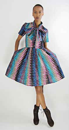 The Minnie Bell- African Print 100% Holland Wax Cotton Dress. $130.00, via Etsy.