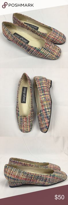 Brand New Colorful Easy Street Tweed Heels Oh you know, just the cutest darn shoes around town. These sweet little Tweed shoes are almost a flat but have an adorable 1 inch wedge heel that is also covered in the Tweed fabric. Comfort, squishy inner lining. Rounded toe. Brand new and in perfect condition. Size 5. easy street Shoes Heels