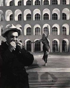 Rome, 1960. Fellini and Anita Ekberg on the set of La Dolce Vita.
