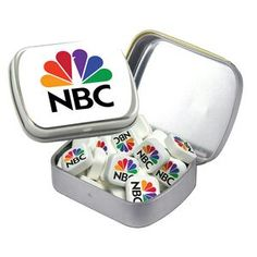 A breath of fresh air for your branding! Small Silver Mint Tin Filled w/ Printed Mints