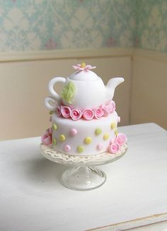 Miniature Dollhouse Food Tea Pot Cake Pink by GoddessofChocolate Pretty Cakes, Cute Cakes, Beautiful Cakes, Amazing Cakes, Fancy Cakes, Mini Cakes, Cupcake Cakes, Pizza Cupcakes, Mini Patisserie