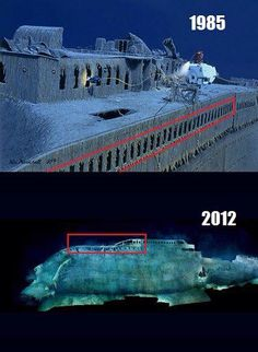 Titanic wreck 1985 and 2012