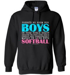 Golly Girls: No Room For Boys Softball Gildan Heavy Blend Hoodie only at gollygirls.com