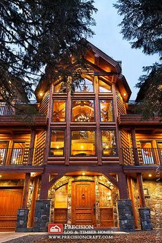 Custom Log Home by PrecisionCraft Log Homes | Located in Oregon by PrecisionCraft Log Homes & Timber Frame, via Flickr