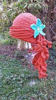 Little Mermaid Ariel Inspired Crochet Wig Hat in Carrot Orange