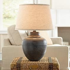 Brighton Hammered Pot Bronze Table Lamp $99 Sale