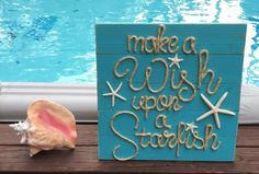 "Handmade ""Make A Wish Upon A Starfish"" Beach Pallet Art Coastal Decor"