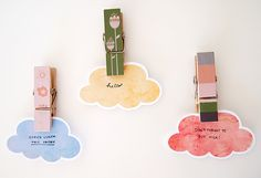 Nice clouds for nice moments! Printable Watercolor Cloud Cards by Design is Yay