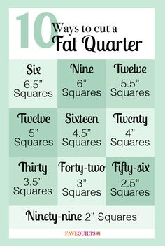 "learn 10 ways to cut a fat quarter, so you won't waste a single scrap of that coveted piece of fabric.  Just in case you have ever wondered ""how many squares can I cut from a fat quarter"
