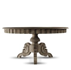 """63"""" Round French Dining Table solid weathered oak hand carved spectacular 