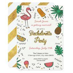 #bachelorette #party #invitations - #Summer Gold Flamingo Pineapple Bachelorette Party Card