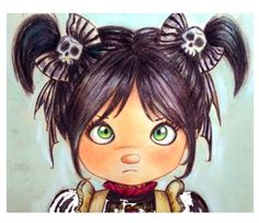 Gothic sweet  girl with skulls bows by Pilar