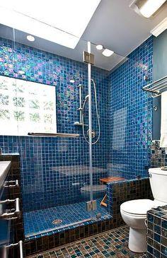 Blue Glass Shower Tile bathroom makeover tour: spa-like bathroom with seaside style