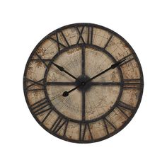 No matter where you want to travel or where the world has taken you so far, this clock with its old-school world map is a fun piece for your wall. Roman numerals mark the hours until your next getaway....  Find the Well-Traveled Wall Clock, as seen in the Nouveau Industrial Collection at http://dotandbo.com/collections/nouveau-industrial?utm_source=pinterest&utm_medium=organic&db_sku=97790