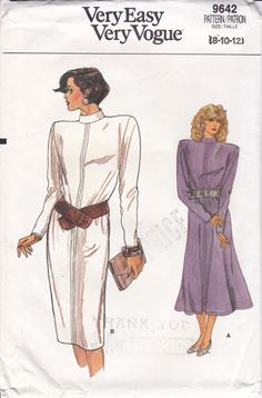 FREE US SHIP Vogue 9642 Vintage Retro 1980s 80s Shoulder Pad Wedge Dress Size 8 10 12 Uncut Sewing Pattern Pullover Bust 30 31 32 by LanetzLiving on Etsy