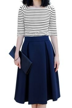 ROMWE | ROMWE Pleated Zippered Dark-blue Midi Umbrella Skirt, The Latest Street Fashion