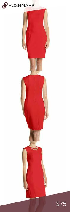 Calvin Klein Chain-neck Ponte Knit Sheath Dress New With Tags -  Calvin Klein Chain-neck Ponte knit Sheath Dress  A gleaming curb-chain adorns the neckline and illuminates the face atop a sleeveless ponte-knit sheath shaped with curvaceous side panels. By Calvin Klein!  Goldtone chain link accent  Crew neck  Sheath silhouette  Back zip closure Unlined 77% polyester, 20% Rayon, 3% spandex  Dry clean  Retails for $134   ⚡⚡⚡PRICE IS FIRM⚡⚡⚡  ⚡⚡⚡NO TRADES⚡⚡⚡ Calvin Klein Dresses
