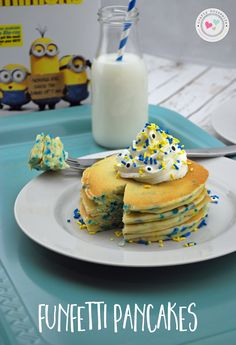"""You can't go wrong with this buttermilk funfetti pancakes recipe made from scratch! It's delicious and perfect for a breakfast """"dinner"""" or dessert. Bonus, you can make it with blue and yellow sprinkles for a Minions movie night theme! The kids will think this is SO much fun because minion pancakes are THE BEST! #MinionsMovieNight #ad"""