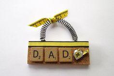 Dad Measuring Tape DiY Scrabble Tile by ScrabbleTileOrnament Scrabble Letter Crafts, Scrabble Ornaments, Scrabble Wall Art, Letter Ornaments, Scrabble Tiles, Puzzle Pieces Games, Diy Jewelry Holder, Necklace Holder, Vintage Jewelry Crafts