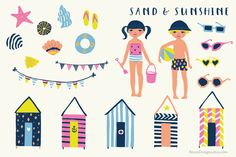 Sand and Sunshine Clip Art Set by RhianAwni on Creative Market