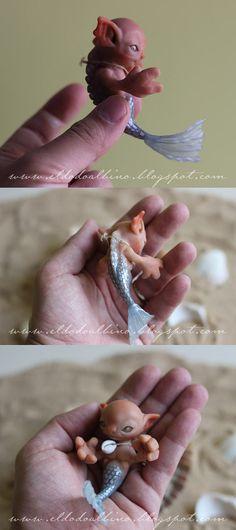 Mermaid baby OOAK art doll, looks like that little alien from the film 'flight of the navigator', cuteee