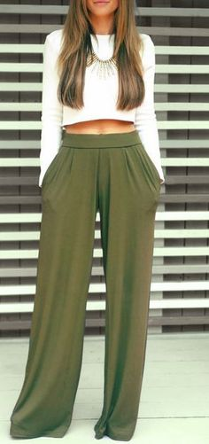 SHOP THE LOOK! Available now! Olive palazzo pants and a long sleeve crop top. So chic