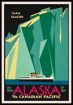 Alaska Taku glacier vintage travel poster - decor diy cyo customize home Alaska Travel, Travel Usa, Travel Trip, Travel Tourism, Alaska Trip, Travel Stuff, Vancouver, Posters Canada, Vintage Travel Wedding