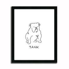 Personalized BullDog Line Drawing Artwork