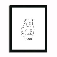 Personalized BullDog Line Drawing Artwork