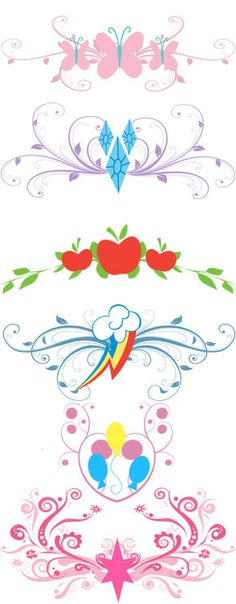 these are cute alterations to the MLP cutie marks. Totally getting the rainbow dash one as a tattoo! Dessin My Little Pony, Mlp My Little Pony, My Little Pony Friendship, My Little Pony Tattoo, My Little Pony Costume, Equestria Girls, Mlp Cutie Marks, Arte Do Kawaii, Imagenes My Little Pony