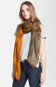 $475, Yellow Plaid Scarf: Burberry Tartan Check Scarf. Sold by Nordstrom. Click for more info: http://lookastic.com/women/shop_items/104228/redirect