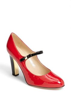 A shiny red Mary Jane pump
