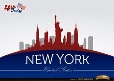 Background of New York skyline with July 4th commemoration theme with buildings and landmarks in colors of USA flag. High quality JPG included. Under Commons 4.0. Attribution License.