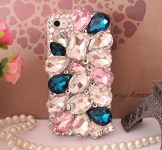 Big Bling Blue Pink crystal iphone 4 case iphone 4s case iphone 5 case