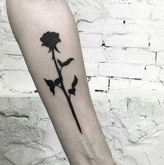 Black out rose by @nnchlnt done at @inkandwatertatoo - - - #tattoo #blackandwhite #blackwork #tinytattoos #tiny #black #small #wrist #tatttoosforwomen #ideas #minimalist #dotwork #blackout #black #rose #floral #arm #bold