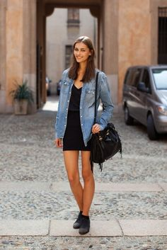 Denim-paired-with-little-black-dress - Evatese Blog