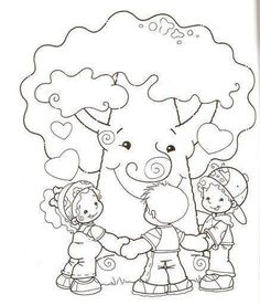 coloring kids and tree Colouring Pages, Free Coloring, Coloring Books, Tree Day, Transportation Theme, Human Drawing, Painted Paper, Kindergarten Activities, Recycled Crafts