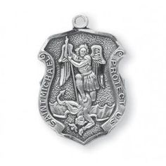 Saint Michael Sterling Silver Badge Medal